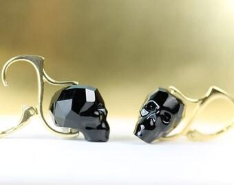 Crystal Skull Lever back earrings in gold Vermeil, Swarovski Jet black crystal skulls, art4ear, Day of the Dead, not your everday earrings