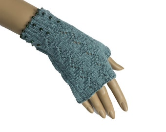 Cashmere angora and cotton fingerless gloves with beads in sage green