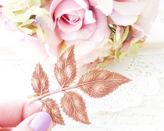 Rose Gold Leaf Branch Hair Pin - Large Rose Gold Leaf Branch Bobby Pin - Woodland Hair Pin - Bridal Hair Pin - Wedding Hair Accessory
