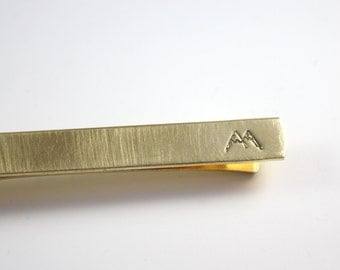 Gold Mountain Tie Bar - Mountain Tie Clip - Hidden Message -  Gold Tie Bar - Tie Clip - Gift for Him - Adventure Tie Bar Clip - Brass