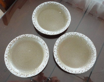 70s Laurentian Pottery Frosted Edge Lava 3 Bread Plates