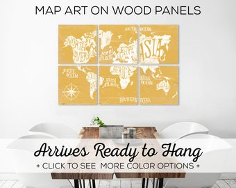 Large World Map - Wall Art Print in Custom Colors - Playroom Wall Art Decor