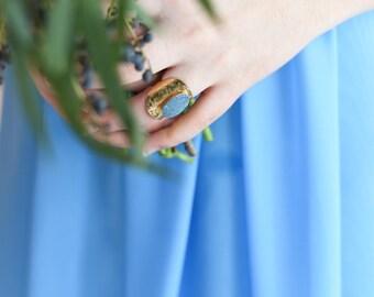 BAYIA Aqua Aura Quartz Druzy Ring, Aura Quartz Ring, Aura Quartz Ring, Crystal Ring, Bridesmaids, Bridal Ring, Gold Ring, OOAK Ring, xox