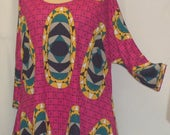 Plus Size Top, Coco and Juan, Lagenlook, Plus Size Tunic, Hot Pink Palm Beach Print, Knit Drape Side Tunic Top ,One Size Bust  to 60 inches