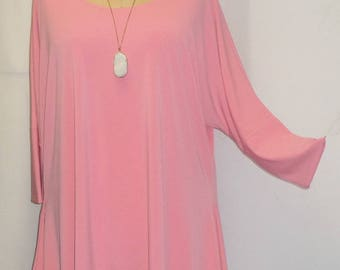 Womens Plus Size Top, Coco and Juan, Lagenlook, Plus Size Tunic, Pink, Traveler Knit Drape Sides Tunic Top One Size Bust  to 60 inches