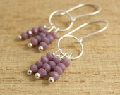 Earrings with Mauve Crystal Rondelles and Sterling Silver Loops on Large Medium Earring Wires CHE-302