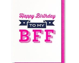 Cute Fun BFF   Friend   Best Friends Forever   Bestie Birthday Letterpress Card   kiss and punch