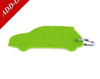 Hatchback Designer Wool Felt Keychain - Green, 100% Wool, Eco Car, Nissan Leaf, Add-On Item