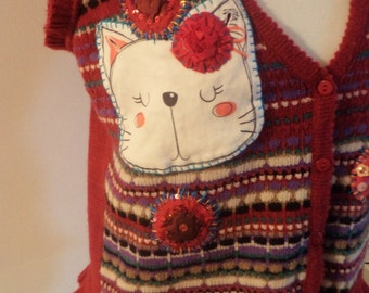 kawaii cat, kawaii cat waistcoat, ONE OF A KIND, upcycled waistcoat, bright happy top, happy cat top, red striped waistcoat,