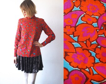 60s psychedelic top. floral blouse. cotton blouse. turtleneck top - xs, small
