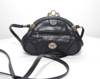 80s small black leather purse. crossbody bag. kiss lock bag