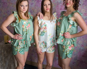 Ruffled Style Pj Sets in Angel Song Pattern