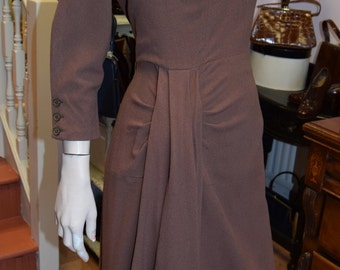 "1940's Wool Crepe, Mocha Waterfall Dress 40"" bust 30"" waist"