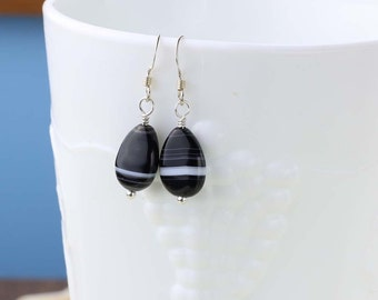 Black and White Banded Onyx Earrings, Onyx Gemstones, Sterling Silver, Black Onyx, Unique Stones, Everyday Earrings, Root Chakra