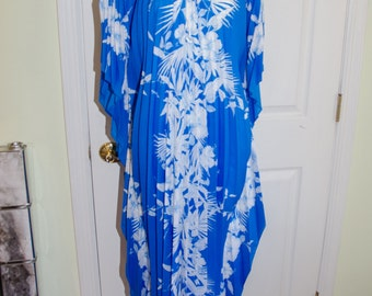 Vintage 1970's Accordian Blue Floral Aloha Hawaiian Dress