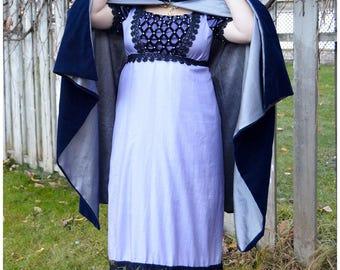 Velvet Cape Cloak Tippet for Regency Victorian Gown Dress in navy blue silver