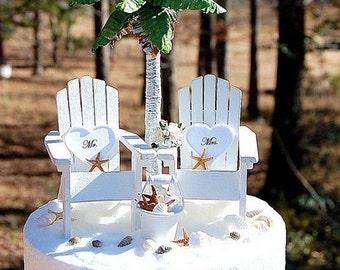 "Beach Wedding Cake ALL WHITE Topper SALE! Fits 6"" Artisan Handmade To order Rustic Tropical Destination Wedding"
