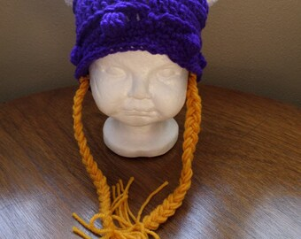 Viking Braided Hat; Viking Hat; Photo Prop Hat; Crochet Hat; Baby Viking Hat; Purple and Gold Viking Hat