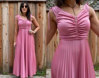 Vintage 70s Dusty ROSE MAXI Dress with Accordion Pleat Skirt XS S