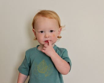 Triple Leaf Shirt // Baby Boy Leaf Infant Shirt// Embroidered Kid Top // Boy's Summer Top// Modern Boy's Clothing// Boho Baby