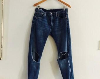 90's Levi's 505 trashed jeans, Vintage Levi's 505, trashed Levi's jeans, distressed Levi's 505 jeans