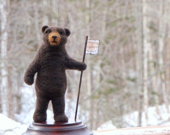 Needle Felt Bear One-of-a-kind Needlefelted  Soft Sculpture by McBride House