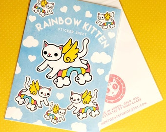 rainbow kitten - sticker sheet