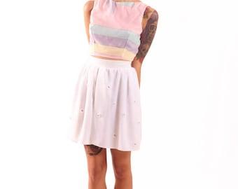 White Chiffon Skirt Lavender Daisies Mini Flared Skirt Spring Style