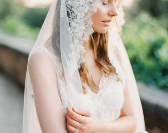 Bridal Veil, LaceVeil, Mantilla Veil, Lace Crystal beaded, Wedding Veil, Chapel Veil - Style 302