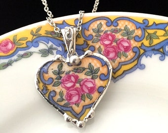 Broken china jewelry -  antique china - pink roses on blue porcelain - broken china jewelry heart pendant necklace