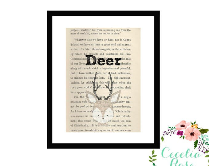 Deer Book Art Vintage Book Art Cute Simple Box Frame or Print