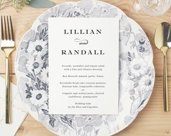 Printable Wedding Menu, Wedding Menu Template, Formal Script, Mac or PC, 100% Editable, Cheap Wedding Menu, INSTANT DOWNLOAD