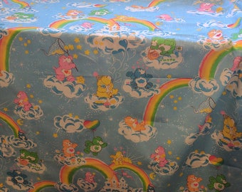 Care Bear Rainbows and Cloud Castle Fabric from 1983, 45 by 59 Inches, In Excellent Condition