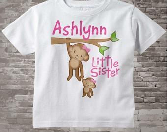 Little Sister onesie, Little Sister Shirt, Personalized Little Sister Big Sister Monkey Tee Shirt or Onesie 01292014d