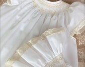 Angel Baby Pearl White Ecru Set  Hand Smocked and Heirloom Lace  Girl Vintage Look Size 9 months to 4 Matching Top, Pantaloons and  Bonnet