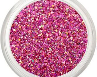 Bright Pink Rainbow Glitter Makeup, Bright Pink, Cosmetic, Glitter Pigment, Face Body Glitter, Hot Pink Glitter, Karma Chameleon