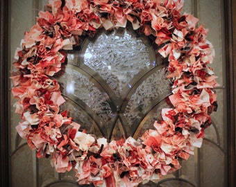 Valentine Rag Wreath in L'Amour by Sandy Gervais for Moda