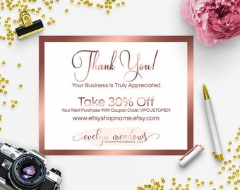 SALE 35% OFF Thank You Card - Business Thank You Card - Promotional Card - Branding - Packaging - Etsy Shop Cover - Watercolor 102-17