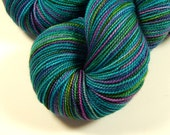 Hand Dyed Sock Yarn - Sock Weight Superwash Merino Wool Yarn - Aegean Multi - Knitting Yarn, Fingering Yarn, Turquoise, Indie Hand Dyed Yarn