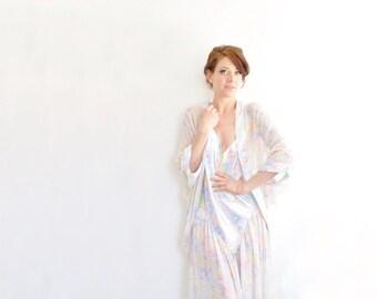pastel watercolor slip and sheer robe . matching 1980 2 pc set .medium.large