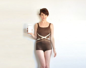 chocolate brown swimsuit . mod one piece criss cross maillot .extra small.small.xs .sale