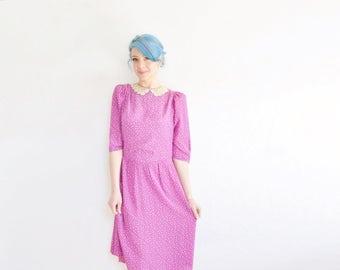 pink purple tiny floral print dress . lace peter pan collar .medium.large .sale