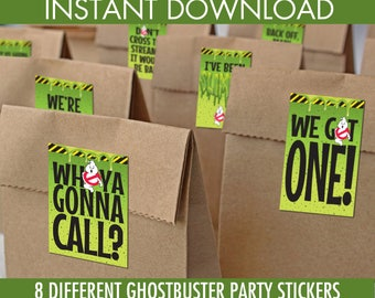 Ghostbusters Inspired Party Stickers - 8 Party Favor Label, Ghostbusters Party | INSTANT Download PDF Printable Kit