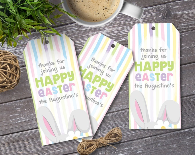 Easter Favor Tag - Easter Bunny Party Tag, Bunny Gift Tag, Bunny Baby Shower Party Tag | Editable Text - Instant Download PDF Printable