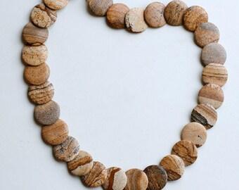 1980s brown jasper flat beaded necklace / 80s vintage landscape jasper short stone necklace