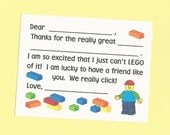 Lego Inspired Fill in the Blank Thank You Cards - Girls and Boys Birthday Thank Yous