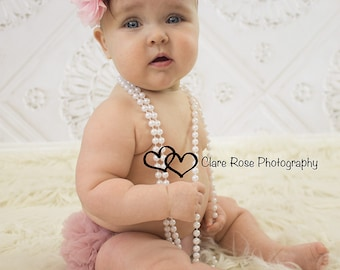 Baby Bloomer and Shabby Chic Headband Set- Ruffle Bum Baby Bloomer, Vintage Inspired, Vintage pink,newborn bloomer, photo prop-My2lilPixies