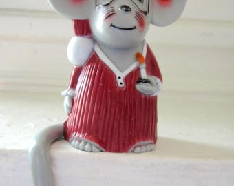 Vintage 1980's Mouse Plastic Christmas Stocking Hook