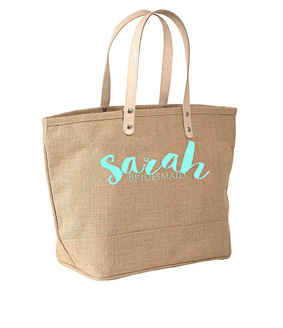 Weekender Market Tote, Bridesmaid Bags, Burlap Totebag, Monogrammed Weekender Bag, Large Tote Bag, Bridesmaids' Bag, Monogrammed Bridal Gift