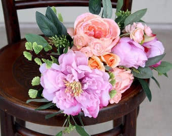 Wedding Bouquet Silk Flowers | Coral Peach and Pink | Loose Styled Bridal Bouquet | SG-1014